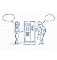 sketch business man and woman talking drinking vector image