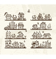 Sketch of cute houses on shelves for your design vector image vector image