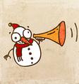Snowman with Loud Speaker Cartoon vector image vector image
