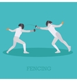 Sport fencing athletes isolated icons Silhouette vector image