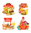 street fast food delivery icons and deliveryman vector image vector image