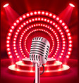 the microphone on the red scene vector image vector image