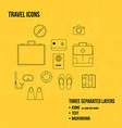 Travel objects Thin line icons set vector image