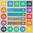 Upload icon sign Set of twenty colored flat round vector image