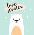 winter card with white bear vector image vector image