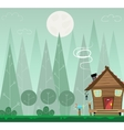Winter forest landscape and the houses shelter vector image vector image