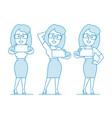 woman office worker makes selfie vector image vector image