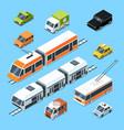 isometric municipal transport set vector image