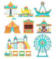 amusement park design elements set merry go round vector image