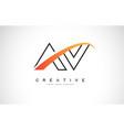 av a v swoosh letter logo design with modern vector image vector image