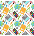 back to school pattern with stationery and globe vector image