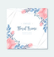 beuatiful watercolor blue and pink floral frame vector image