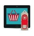 big sale online technology tablet tag price basket vector image vector image