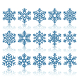 Black Flat Snowflakes Icons with Reflection vector image vector image