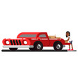 black girl loads boxes into the pick up truck vector image vector image