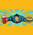 businessman flying fast food burger and cola vector image