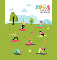 cartoon people practicing yoga poster banner vector image vector image