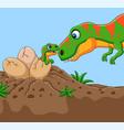 cartoon tyrannosaurus with her baby hatching vector image vector image