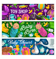 children products and toys shop banners vector image vector image