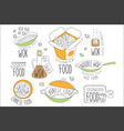 chinese wok noodles promo labels collection vector image
