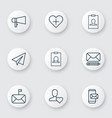 communication icons set with follow badge vector image