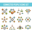 Connected people flat icons set vector image vector image