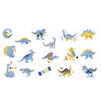 cute dinosaurs set hand drawn collection doodle vector image vector image