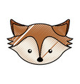cute scribble fox face cartoon vector image vector image