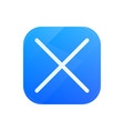 delete glossy flat icon cross symbol vector image vector image