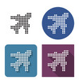 dotted icon plane in four variants with short vector image