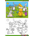 easter bunnies and chicks characters coloring vector image vector image