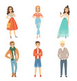 fashionable guys and girls cartoon male and vector image vector image