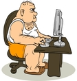 Fat Man At The Computer vector image vector image