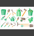flat set of garden accessories pot with vector image