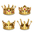 gold 3d crown set royal monarchy and kings vector image