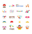 happy purim jewish holiday traditional icons vector image vector image