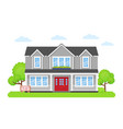 house with sign for sale in flat design vector image