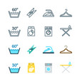 housework and laundry washing line and flat icons vector image