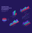 isometric infographic elements 3d graphs bar vector image vector image