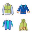 jacket icon set cartoon style vector image vector image