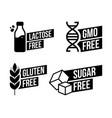 lactose free sugar free gluten free gmo free vector image vector image
