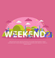 lazy weekends people flat poster vector image vector image