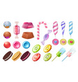 lollipops and candies chocolate and toffee round vector image