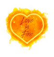 love is fire watercolor flaming heart vector image vector image