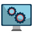 monitor computer with gears vector image vector image