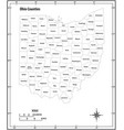 ohio state outline administrative map vector image vector image