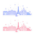 paris skyline france city notable buildings vector image vector image