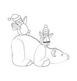polar bear and penguins coloring page vector image vector image