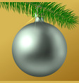 realistic silver matte christmas ball or bauble vector image vector image