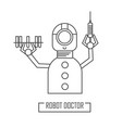 robot doctor with a syringe vector image vector image